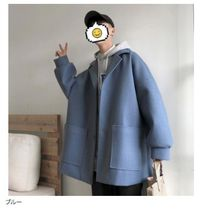 Stand Collar Coats Unisex Wool Nylon Street Style Plain Long