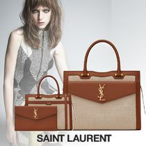 Saint Laurent UPTOWN Casual Style Unisex 2WAY 3WAY Plain Leather Office Style