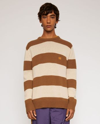 Acne Knits & Sweaters Crew Neck Stripes Long Sleeves Knits & Sweaters