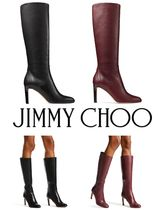 Jimmy Choo Round Toe Leather Over-the-Knee Boots