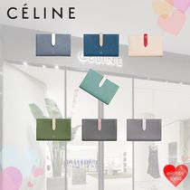 CELINE Unisex Calfskin Street Style Plain Leather Folding Wallet