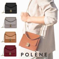 POLENE Casual Style Calfskin 2WAY Chain Plain Party Style