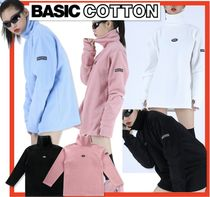 BASIC COTTON Unisex Street Style Long Sleeves Tops