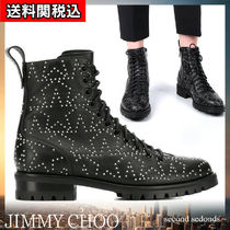 Jimmy Choo Star Round Toe Rubber Sole Lace-up Studded Plain Leather