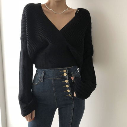 Cable Knit Short Casual Style Rib Blended Fabrics