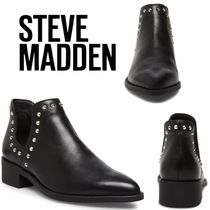 Steve Madden Casual Style Studded Plain Leather Block Heels