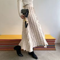 Flared Skirts Casual Style Maxi Blended Fabrics Street Style