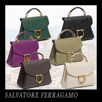Salvatore Ferragamo Calfskin 2WAY Plain Elegant Style Handbags