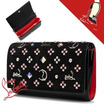 Christian Louboutin Paloma Calfskin Suede Chain Leather Chain Wallet Logo Long Wallets