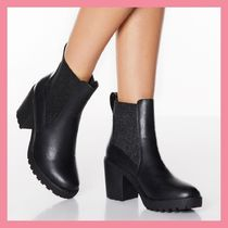 Lipsy Round Toe Casual Style Faux Fur Plain Chelsea Boots