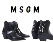MSGM Casual Style Plain Leather Ankle & Booties Boots