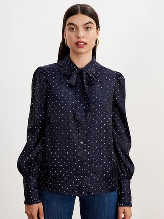Dots Casual Style Bi-color Long Sleeves Medium Office Style