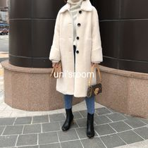 Stand Collar Coats Fur Plain Medium Long Midi