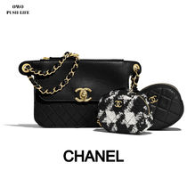 CHANEL Zigzag Calfskin Blended Fabrics Studded Chain Plain