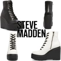 Steve Madden Platform Round Toe Lace-up Casual Style Plain Leather