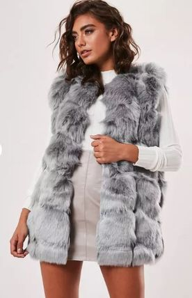 Faux Fur Plain Medium Fur Vests Elegant Style Vest Jackets