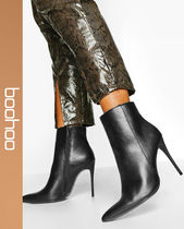 boohoo Casual Style Faux Fur Block Heels Over-the-Knee Boots
