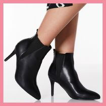 Lipsy Casual Style Faux Fur Plain Pin Heels Chelsea Boots
