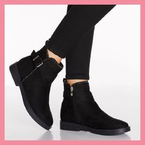 Lipsy Round Toe Casual Style Suede Plain Chunky Heels