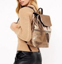 WHISTLES Casual Style A4 Plain Leather Elegant Style Backpacks