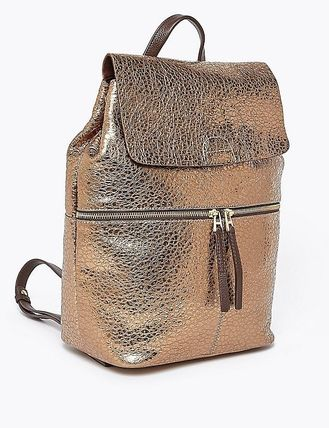 Casual Style A4 Plain Leather Elegant Style Backpacks