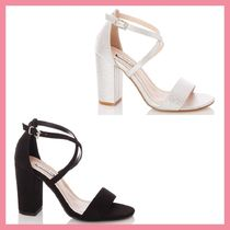 Lipsy Open Toe Plain Party Style Chunky Heels Sandals