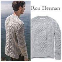 Ron Herman Crew Neck Cable Knit Pullovers Unisex Wool Long Sleeves