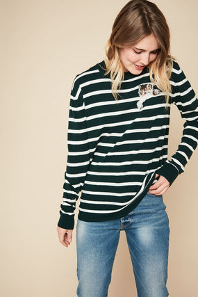 Crew Neck Stripes Casual Style Long Sleeves