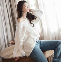 DINT Cable Knit Casual Style V-Neck Long Sleeves Plain Knitwear