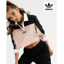 adidas Short Casual Style Street Style Bi-color Long Sleeves Cotton