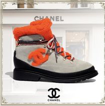 CHANEL Round Toe Lace-up Casual Style Suede Blended Fabrics Leather