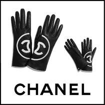 CHANEL Leather Logo Leather & Faux Leather Gloves