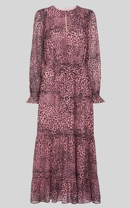 Crew Neck Leopard Patterns Casual Style Maxi Flared Bi-color