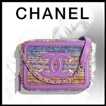 CHANEL Calfskin Blended Fabrics Chain Leather Crossbody Logo