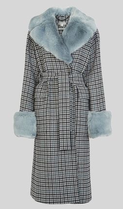 Other Plaid Patterns Casual Style Wool Faux Fur