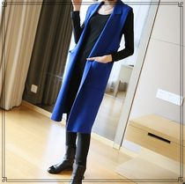 Plain Long Elegant Style Vest Jackets