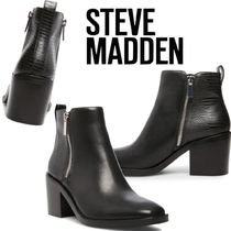 Steve Madden Casual Style Plain Other Animal Patterns Leather Block Heels