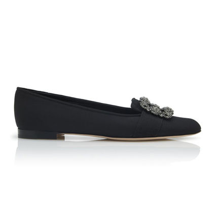 Round Toe Suede Plain With Jewels Elegant Style Flats