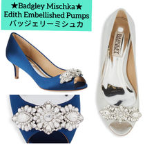 Badgley Mischka Open Toe Plain Leather With Jewels Elegant Style