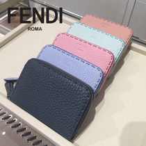 FENDI SELLERIA Unisex Calfskin Plain Leather Coin Cases
