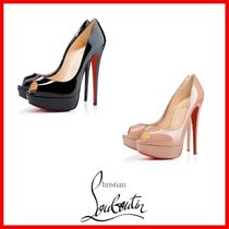 Christian Louboutin Open Toe Plain Leather Pin Heels Elegant Style