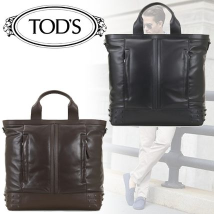 Tod S 2019 20aw Street Style 2way Plain Leather Totes By Decorate