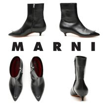 MARNI Plain Leather Ankle & Booties Boots