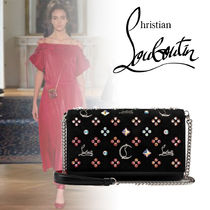 Christian Louboutin Casual Style Calfskin Suede 2WAY Chain Party Style