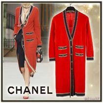 CHANEL Cashmere Long Sleeves Plain Long Elegant Style Cashmere