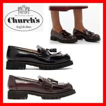 Church's Round Toe Rubber Sole Tassel Plain Leather Elegant Style