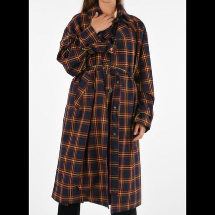 Other Plaid Patterns Long Elegant Style Trench Coats