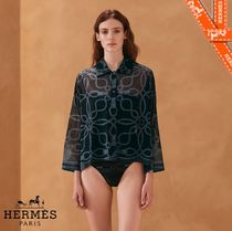 HERMES Casual Style Cropped Cotton Shirts & Blouses