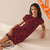 HERMES Casual Style Cotton Medium Short Sleeves Party Style