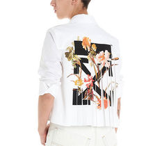 Off-White Flower Patterns Street Style Cotton Shirts & Blouses
